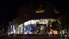 Intersection Of The Big City, Tokyo, Japan (Omotesando) (Night) Stock Footage