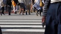 Congested Tokyo Shibuya crossing (pedestrian-feet) Stock Footage