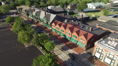 Newport RI Aerial, International Tennis Hall of Fame facade Stock Footage