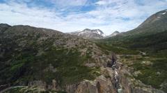 Alpine Scenic Rocky Chasm Mountain Tundra Reversing Aerial Stock Footage