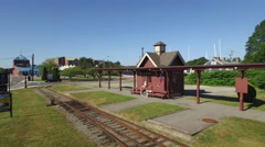 Newport RI Aerial, train station Stock Footage