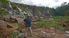 Old Man Photos Wide View of Waterfall Cascade Panagarh Stock Footage