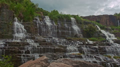 Wide View of Waterfall Cascade Panagarh in Vietnam Stock Footage