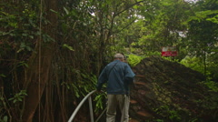 Backside Man Goes down Steps to Wooden Bridge in Park Tropics Stock Footage