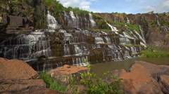 Close Motion from Stones to Waterfall Cascade Panagarh Stock Footage