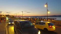 Traffic at the entrance to the old town of Nesebar Stock Footage