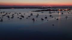 Newport RI Aerial, Newport Harbor, twilight Stock Footage