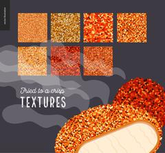 Meat fried texture patterns Stock Illustration