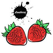 Berry red strawberry Stock Illustration