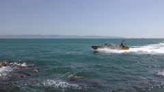 Speed boats near port of Acre, Israel on the mediterranean Stock Footage