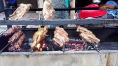 Roast pork and duck  on wood stove Stock Footage
