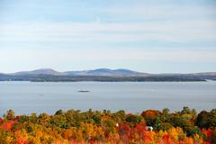 Autumn forest in front of sea and mountain in Acadia National Park Stock Photos