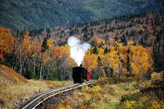 Old steamed cog train in autumn mountain forest Kuvituskuvat