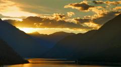 4K Golden Hour Sunset, Sunset Mountains Ridge Silhouette Stock Footage