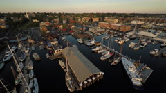 Newport RI Aerial, Bowen's and Bannister's Wharfs Stock Footage
