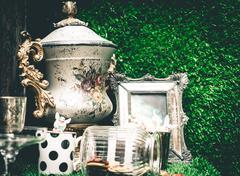 Vintage Metal Trophy on green grass background Kuvituskuvat