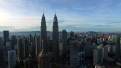 Aerial View Of Kuala Lumpur City In Malaysia Capital, Tall Buildings. Cinematic Stock Footage