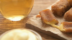 Fried cheese sticks with mayonnaise and beer Stock Footage