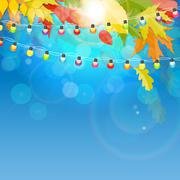 Shiny Autumn Natural Leaves Background. Vector Illustration Stock Illustration