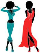 Attractive two women in pants and gown Stock Illustration