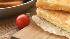 Sandwiches for breakfast with mozzarella Stock Footage