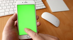 Man using iphone with various hand gestures Stock Footage