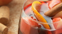Spanish sangria with red wine and fruits Stock Footage