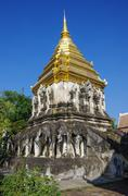 Ancient temple, Wat Chiang Man temple in Chiang Mai, Thailand. Stock Photos