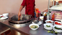 Chef cook rice noodles Stock Footage