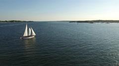 Newport RI Aerial, schooner in Narragansett Bay Stock Footage