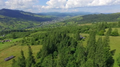 Quadrocopters flying over beautiful mountains in ukraine Stock Footage
