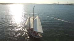 Newport RI Aerial, Narragansett Bay schooner Stock Footage