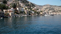 Harbor of Symi, Greece aerial video Stock Footage