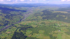 Flight over the beautiful valley in the mountains Stock Footage