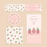 Homemade cherry jam set Stock Illustration