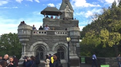 NEW YORK CITY – OCTOBER 2015: People in Belvedere Castle, Central Park. Central Stock Footage