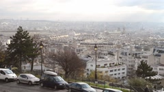 Paris aerial view from Montmartre Stock Footage