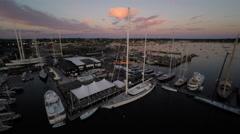 Newport RI Aerial, Newport Shipyard, twilight Stock Footage