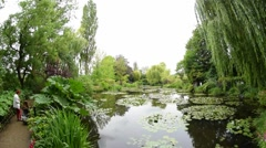 GIVERNY, FRANCE – JULY 2014: Monet Garden on a cloudy day. The garden is a Stock Footage