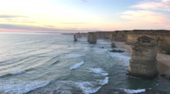 Twelve Apostles rocks at dawn, Australia Stock Footage