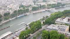Paris aerial view of Seine and city buildings Stock Footage