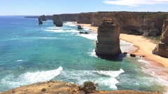 Twelve Apostles rocks on a beautiful day, Australia Stock Footage
