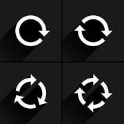 White arrow loop, refresh, reload, rotation icon Stock Illustration