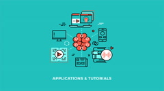 Education online applications and tutorials logo concept Stock Footage