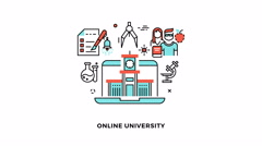 Online edu or e-learning school video animation logo Stock Footage