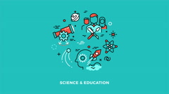 Science and education animated thin line icons concept Stock Footage