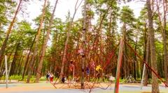 Playground in city park Jurmala, Latvia. Stock Footage