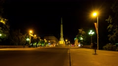 Night view of Freedom Monument in Riga, Latvia Stock Footage