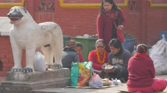 People at ceremony with hindu priest,Patan,Nepal Stock Footage