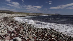 Atlantic waves breaking on a pebble beach, Achill Island, County Mayo Ireland Stock Footage